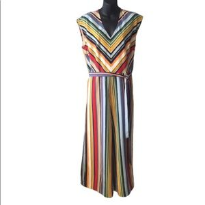 Ny & Co Multicolored Striped v-Neck Jumpsuit